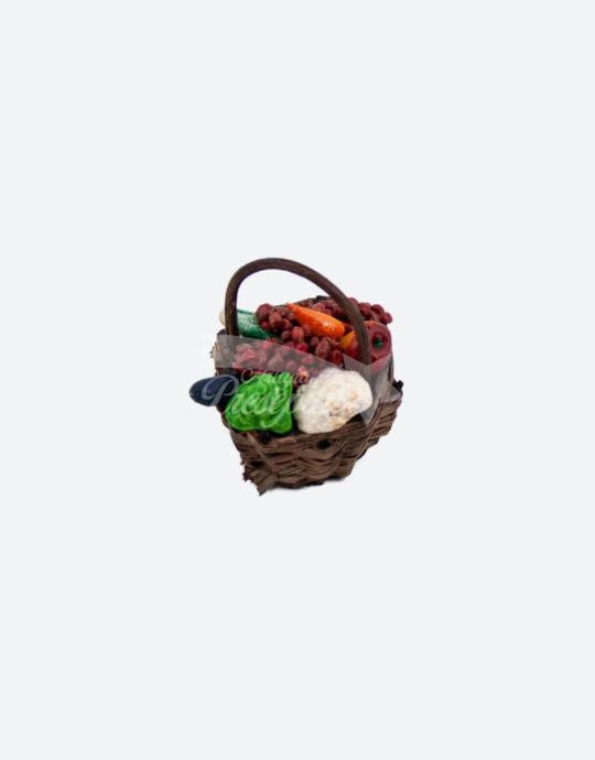 Cestino con verdura per presepi con pastori da 12-16 cm