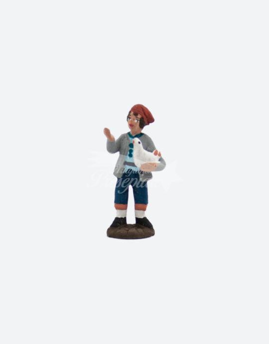 Uomo in terracotta con gallina 5 cm