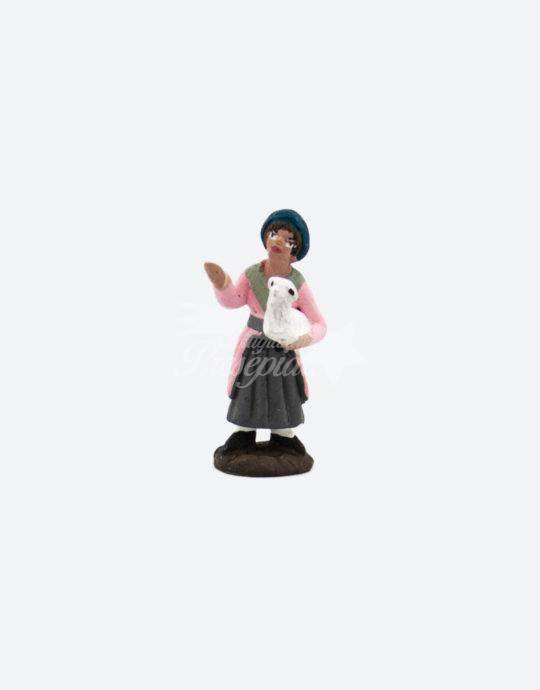 Donna in terracotta con pecorella 5 cm