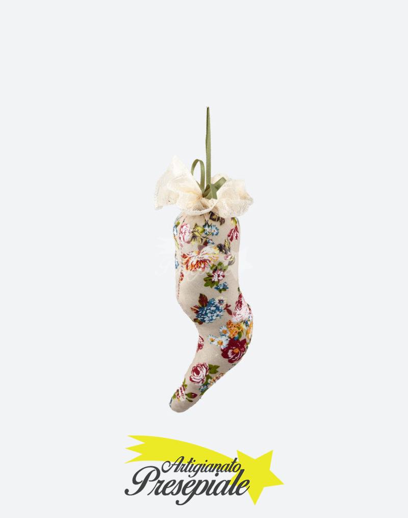 Corno in stoffa motivo floreale 16 cm