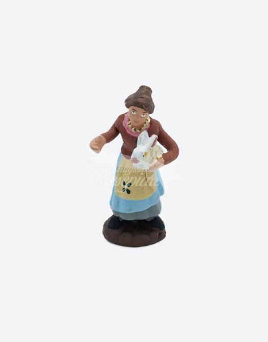 Donna con coniglio 7 cm