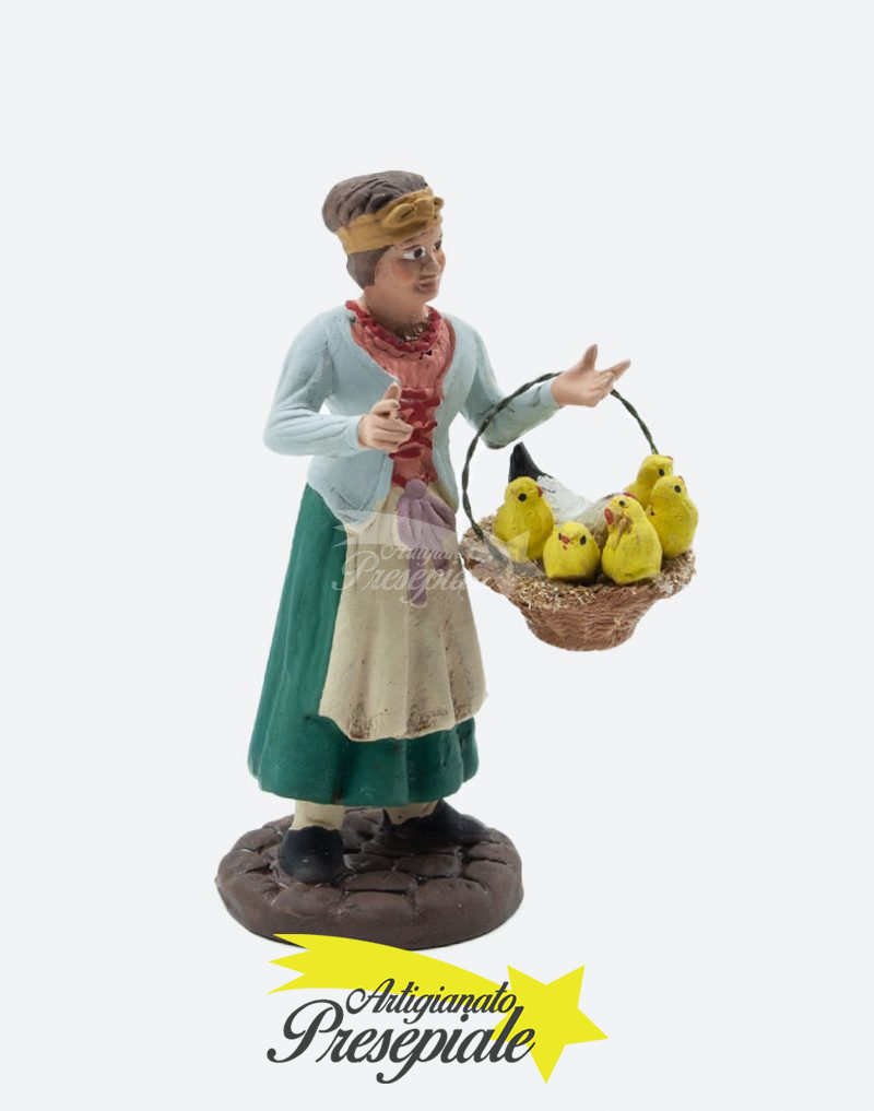 Donna con cesto di pulcini 12 cm