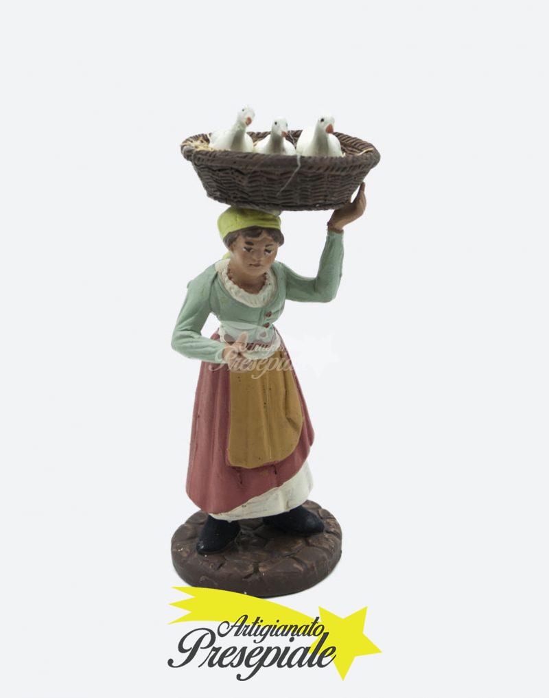 Donna con cesto di papere 12 cm