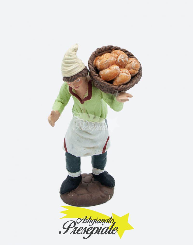 Uomo con cesto di pane 10 cm