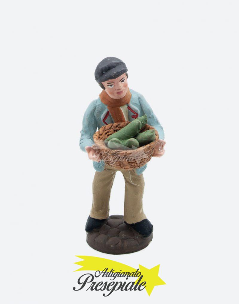 Uomo con cesto di frutta 10 cm