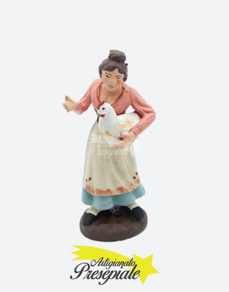 Donna con gallina 10 cm